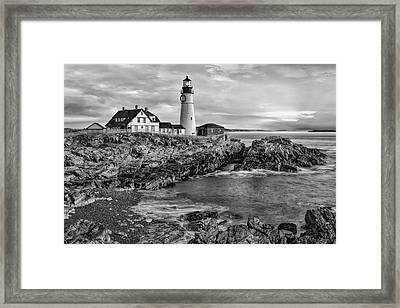 Portland Lighthouse Sunrise Bw Framed Print
