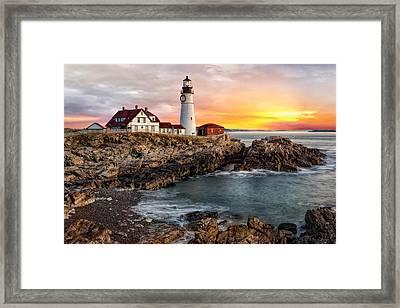 Portland Lighthouse Sunrise Framed Print by Susan Candelario