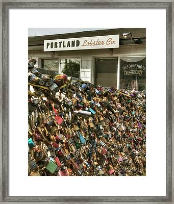 Framed Print featuring the photograph Portland Lobster Co - Locks Of Love by Joann Vitali