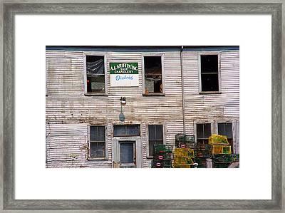 Portland Maine - Dockside Fishing Shack Framed Print by Frank Romeo