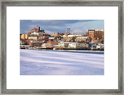 Portland Maine Winter Skyline Framed Print by Eric Gendron