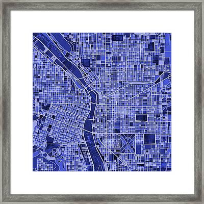 Portland Map Blue Framed Print