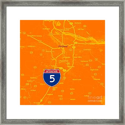 Portland Map, Interstate 5 Framed Print