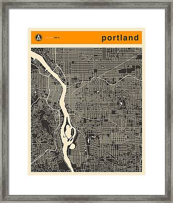 Portland Map Framed Print