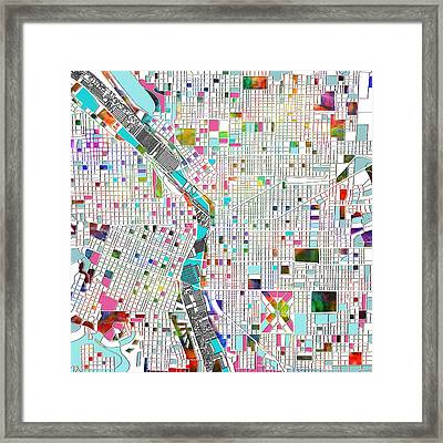 Portland Map White Framed Print