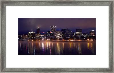 Portland Night Skyline Framed Print by Joseph Skompski