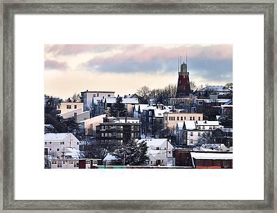 Portland Observatory Winter Skyline Framed Print by Eric Gendron