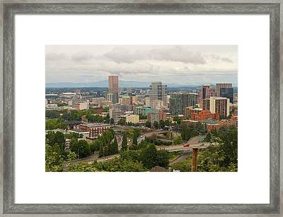 Portland Oregon Downtown Cityscape By Freeway Framed Print