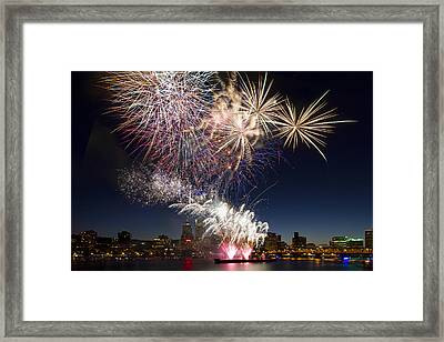 Portland Oregon Fireworks Framed Print by David Gn
