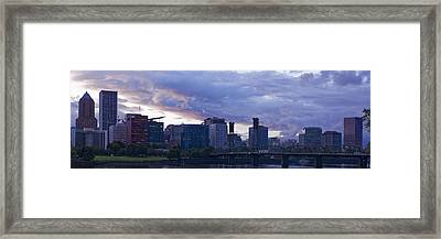 Framed Print featuring the photograph Portland Oregon Panorama by Jonathan Davison