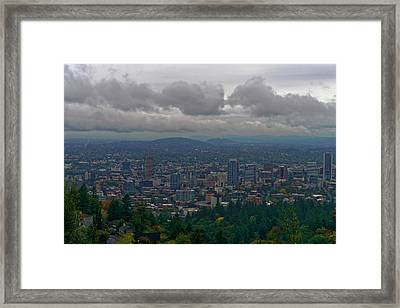 Framed Print featuring the photograph Portland Overlook by Jonathan Davison