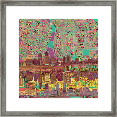 Portland Skyline Abstract 2 Framed Print