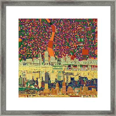 Portland Skyline Abstract 3 Framed Print by Bekim Art