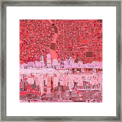Portland Skyline Abstract 4 Framed Print