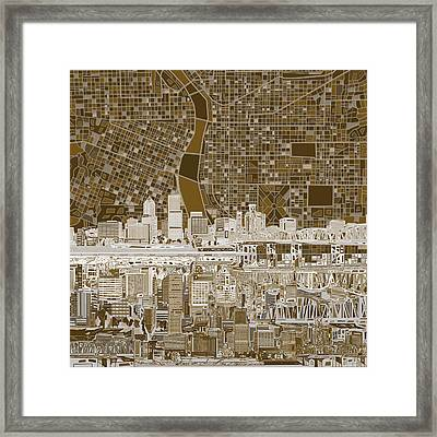 Portland Skyline Abstract 6 Framed Print