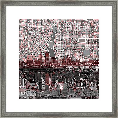 Portland Skyline Abstract 8 Framed Print