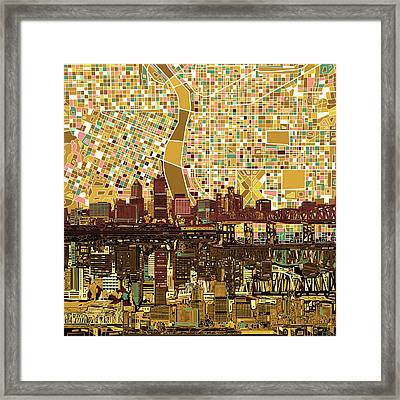 Portland Skyline Abstract 9 Framed Print