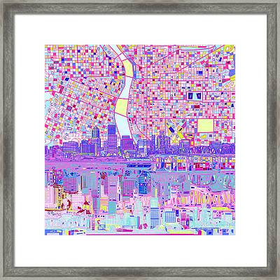 Portland Skyline Abstract Framed Print