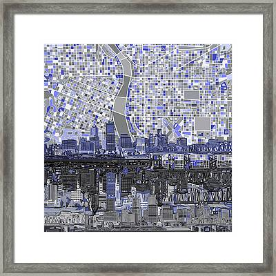 Framed Print featuring the digital art Portland Skyline Abstract Nb by Bekim Art