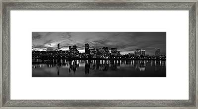 Portland Skyline Black And White Framed Print