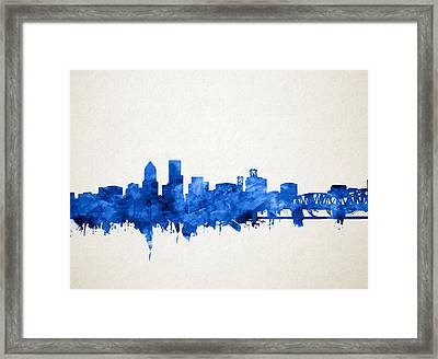 Portland Skyline Watercolor 4 Framed Print