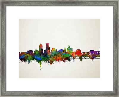 Portland Skyline Watercolor 5 Framed Print