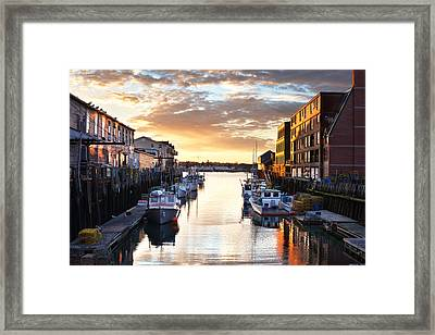 Portland Sunrise At The Custom House Wharf Framed Print by Eric Gendron