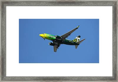 Oregon Framed Print featuring the photograph Portland Timbers - Alaska Airlines N607as by Aaron Berg