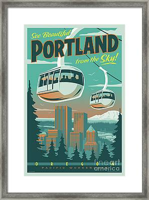 Portland Tram Retro Travel Poster Framed Print by Jim Zahniser