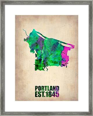 Portland Watercolor Map Framed Print by Naxart Studio