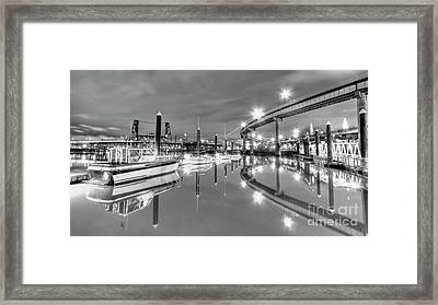 Portland Waterfront Overpass And Boats Framed Print