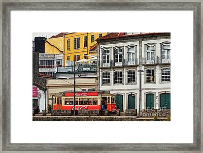 Porto Coca Cola Tram - Digital Drawing Framed Print by Mary Machare
