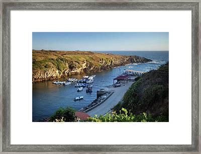 Porto Covo Boats Framed Print by Carlos Caetano