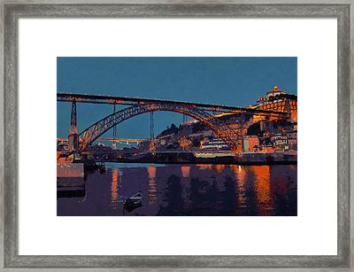 Porto River Douro And Bridge In The Evening Light Framed Print by Menega Sabidussi