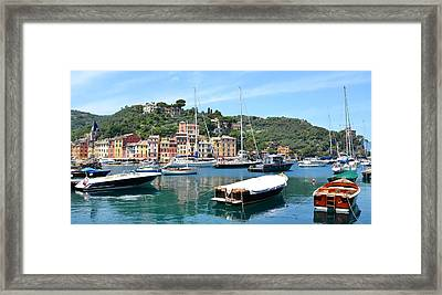 Portofino Boats Framed Print by Corinne Rhode