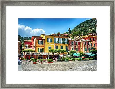 Portofino Cafes Framed Print