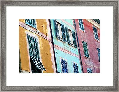 Portofino Facade Framed Print