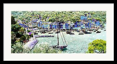 Portofino Italy Mixed Media Framed Prints