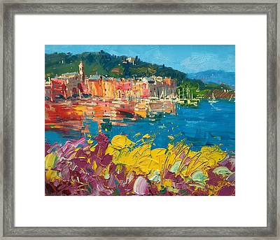 Portofino Harbor With Flowers Framed Print