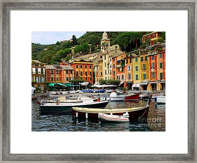Framed Print featuring the photograph Portofino Italy by Nancy Bradley