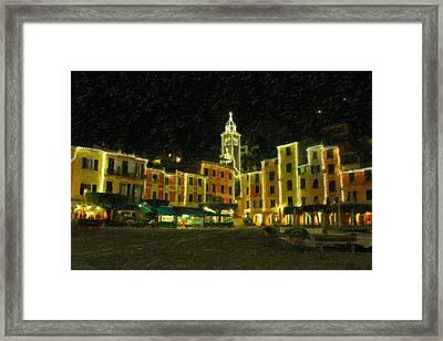 Portofino Italy - Night Shot Framed Print