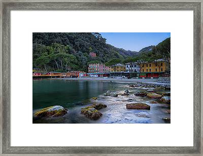 Portofino Mills Valley With Paraggi Bay And Beach Framed Print