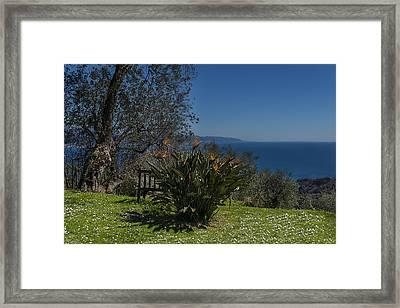 Portofino Mount Flowers Liguria Seascape Panorama Framed Print by Enrico Pelos