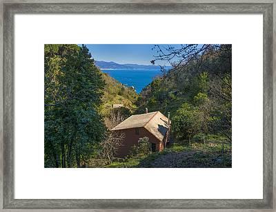 Portofino Mount Valley With Liguria Seascape Framed Print by Enrico Pelos