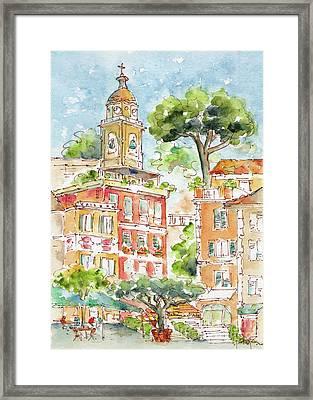 Framed Print featuring the painting Portofino Piazetta by Pat Katz