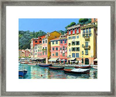 Portofino Sunshine 30 X 40 Framed Print by Michael Swanson