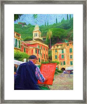 Portofino Through The Eyes Of An Artist Framed Print by Mitchell R Grosky