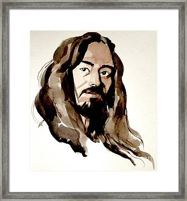 Watercolor Portrait Of A Man With Long Hair Framed Print by Greta Corens