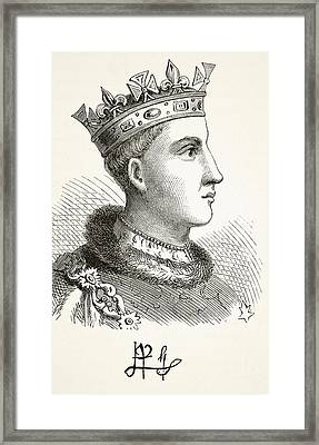 Portrait And Autograph Of King Henry V Framed Print
