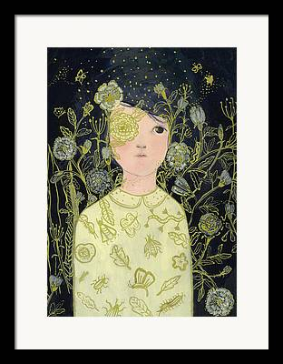Portrait With Flowers Framed Prints